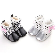 Baby Girls Bowknot Decorated Plush Printed Leather Head Lovely Toddler Boots AU