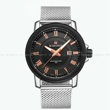 Sport Wrist Watch Fashion Naviforce Gent Quartz Date Leather Army Analog 9052