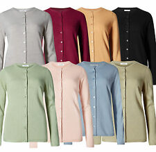 Marks & Spencer Womens Fine Knit Cardigan New Soft M&S Round Neck Cardie Top
