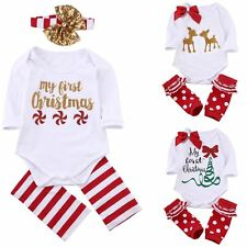 Infant Newborn Baby Boys Girls Xmas Christmas Romper Leg Warmers Outfits Clothes