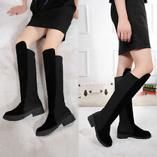 Women High Over Knee Comfortable Elastic Low Heel Suede Flat Boots Warm Shoes AU