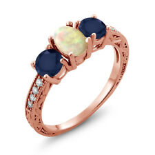 1.83 Ct Cabochon Ethiopian Opal Blue Sapphire 18K Rose Gold Plated Silver Ring