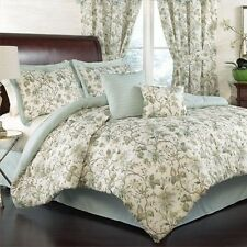 NEW Full Queen King Bed Mineral Blue Green Ivory Floral 6 pc Comforter Set NWT