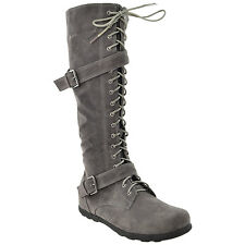 Womens Knee High Boots Lace Up Combat Buckle Straps Shoes Gray