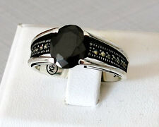 Handmade 925 Sterling Silver Black Onyx Marcasite Stone FASHION Men's RING #C101