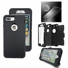 For Iphone Defender case 7 Plus w/ Tempered Glass [Belt Clip fits otterbox]