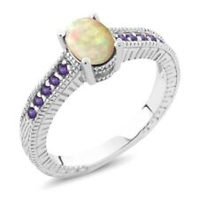 0.71 Ct Oval Cabochon White Ethiopian Opal Purple Amethyst 14K White Gold Ring