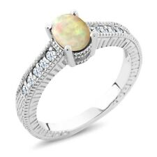 0.71 Ct Oval Cabochon White Ethiopian Opal White Topaz 925 Sterling Silver Ring