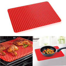41x28.5cm Barbecue Pan Non Stick Fat Silicone Cooking Mat Oven Baking Tray Sheet