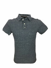 Mens Superdry Classic Grindle Pique Polo Shirt in Navy Grit Grindle Size Large