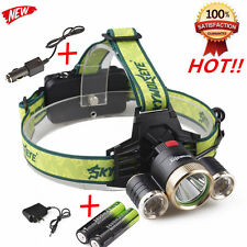 20000LM 3x Cree XML T6 LED Tactical Headlamp Headlight+AC/Car Charger+2PCS 18650