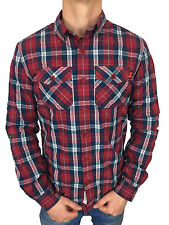 Superdry Mens Winter Washbasket L/S Shirt in Chilled Red Check Size Medium