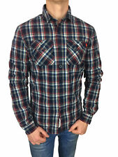 Mens Superdry Winter Washbasket L/S Shirt in Ecosse Navy Check Size Large
