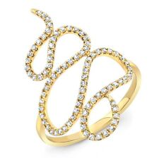 0.38 Ct. Round Cut Diamond Swirl Stackable Band in 14k Rose, White & Yellow Gold