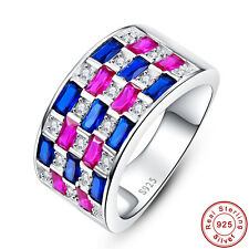 Free Jewelry Box Gift Ruby & Sapphire 100% 925 Sterling Silver Ring Size 6 7 8 9