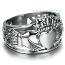 Men's Jewelry Stainless Steel Ring Claddagh Heart Crown Wedding Band Celtic Knot