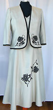 JACQUES VERT PISTACHIO RANGE GREEN DRESS BLACK EMBROIDERY & MATCHING JACKET  L1E