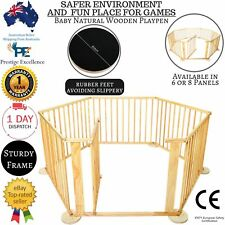 NEW NATURAL WOODEN BABY PLAYPEN TODDLER SAFETY GATE PLAY PEN BARRIER FRAME PANEL
