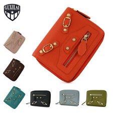 New Ladies Real Leather Purse Genuine Womens Bifold Wallet Zip Coins Card Holder