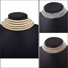 Women Multi Strand Chain Necklace Chunky Choker Magnet Buckle Braided Collar