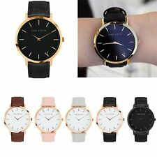 The Fifth Brand Watch Men Women Leather Gold Analog Quartz Casual Wrist Watches
