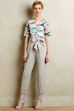 Anthropologie Bowtied Paperbag Crops 14 Petite, Light Gray Pants By Cartonnier