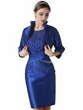 Cap Sleeve Short Mother Of The Bride Dress With Jacket Cocktail Party Gown WD091