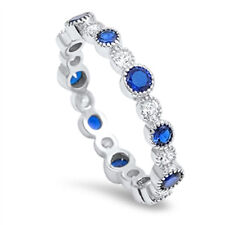 925 Sterling Silver Bubble Jazz Style Eternity Ring W Clear & Sapphire Blue CZ