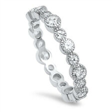 AAA Grade Cubic Zirconia CZ 925 Sterling Silver Bubble Jazz Style Eternity Ring