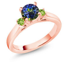 1.24 Ct Round Blue Mystic Topaz Green Peridot 18K Rose Gold Plated Silver Ring