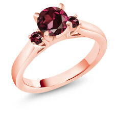 1.24 Ct Round Red Rhodolite Garnet 18K Rose Gold Plated Silver 3-Stone Ring