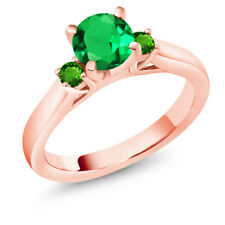 1.05Ct Simulated Green Emerald Tsavorite 18K Rose Gold Plated Silver 3Stone Ring