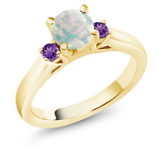 0.50 Ct Round Cabochon White Simulated Opal Purple Amethyst 18K Yellow Gold Ring
