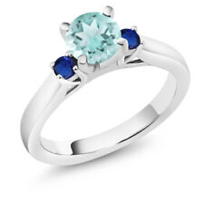 1.16 Ct Round Sky Blue Topaz Blue Simulated Sapphire 14K White Gold 3-Stone Ring