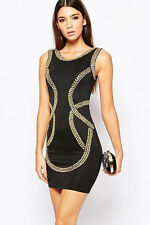 Gold Sequin Embellishment Bodycon Tank Dress fashion women vintage