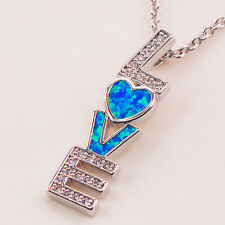 LOVE White Topaz Blue Fire Opal Gemstone Silver Fashion Jewelry Pendant P100