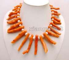 """Big 8*70mm GENUINE Pink Branch shape Coral & 8-9mm White Pearl 18"""" Necklac-6162"""