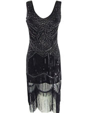 Women's 1920s Vintage Diamond Sequined Embellished Fringed Paisley Flapper Dress