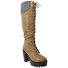 Womens Lace Up Combat Chunky Heel Leather Knee High Boots w/ Knitted Calf Taupe