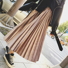 Fashion Women Skirt Solid Pleated Skirt Flared High Waist Elastic Metallic Color