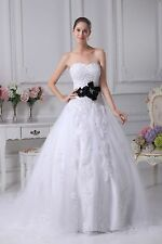 Sweetheart A-line Applique Lace White/Ivory Bridal Wedding Dress Custom All Size