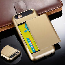 Hybrid Armor Credit Card Slot Slide Back Hard Case Cover For iPhone 6 6s 7 Plus