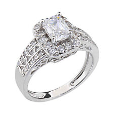 Women's Engagement Wedding Ring Baguette CZ White Gold Plated Anniversary Band