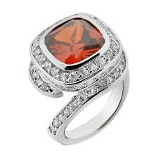 Women's Wedding Engagement Ring Cushion Red CZ White Gold Plated Promise Ring