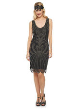 Black Silver Francesca Flapper Dress 1920s Inspired