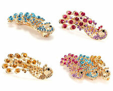 Retro Peacock Crystal  Barrette Rhinestones Barrette Hair Clip Hairpin Bridal