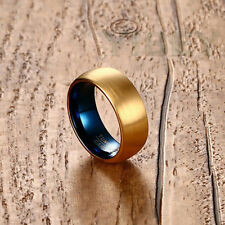 8mm Men's Jewelry Tungsten Carbide Ring Gold Brushed Center Wedding Band Size 7+