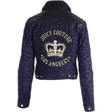 NWT JUICY COUTURE Black Navy Faux Fur Lined Animal Print Denim Moto Jacket $358