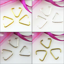 60 New Connectors Gold Silver Bronze Plated Triangle Jump Rings Bails 11x12mm