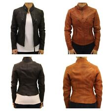 Ladies Real Leather Mandarin Collar Fitted Long Biker Jacket in Black Tan/Brown